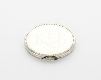 Engraved Beaded Oval Compact Mirror
