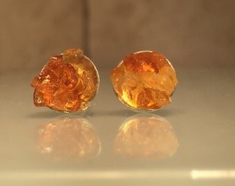 Raw Amber Earrings/Upcycled Raw Amber and Sterling Silver Stud Earring./Free Shipping in the US.