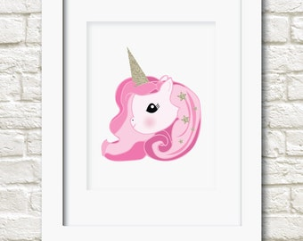 A4 unicorn girl print girls wall art decor 2 colours available wall art