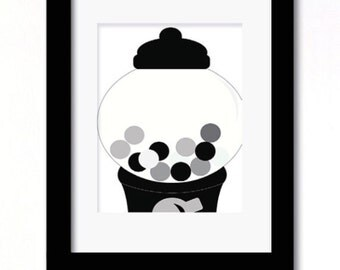 A4 black and white gumball machine print