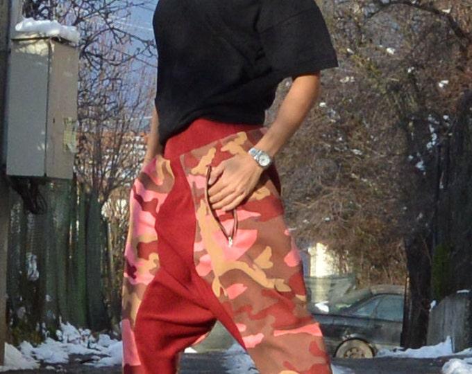 Womens Harem Pants, Loose Casual Drop Crotch Pants, Warm Extravagant Pants, Side Zipper Pockets By SSDfashion