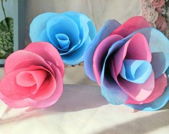 Gender Reveal Paper Flowers/ Watercolor Flowers/ Set of 12