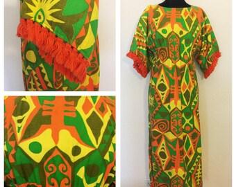 Vintage 60's, 70's Psychedelic Fringe Maxi Dress, Vintage Maxi Boho Hippie Dress, 70's Vintage Maxi Cotton Hippie Dress, Size: M- L