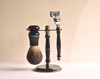Shaving Kit- African Blackwood with Turquoise Inlays