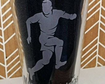 Engraved Pint Glass with Footballer Design - Personalised