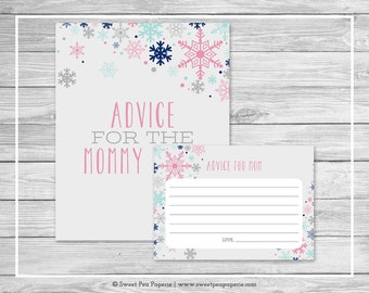 Winter Baby Shower Advice for Mom Cards - Printable Baby Shower Advice Cards - Baby It's Cold Outside Baby Shower - Advice for Mom - SP141