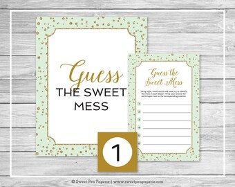 Mint and Gold Baby Shower Guess The Mess Game - Printable Baby Shower Guess The Sweet Mess Game - Mint and Gold Confetti Baby Shower - SP147
