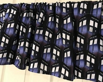 Dr. who black  theme  Curtain Valance doctor who