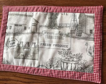 Green Acres Farmhouse  reversible place mat with red gingham