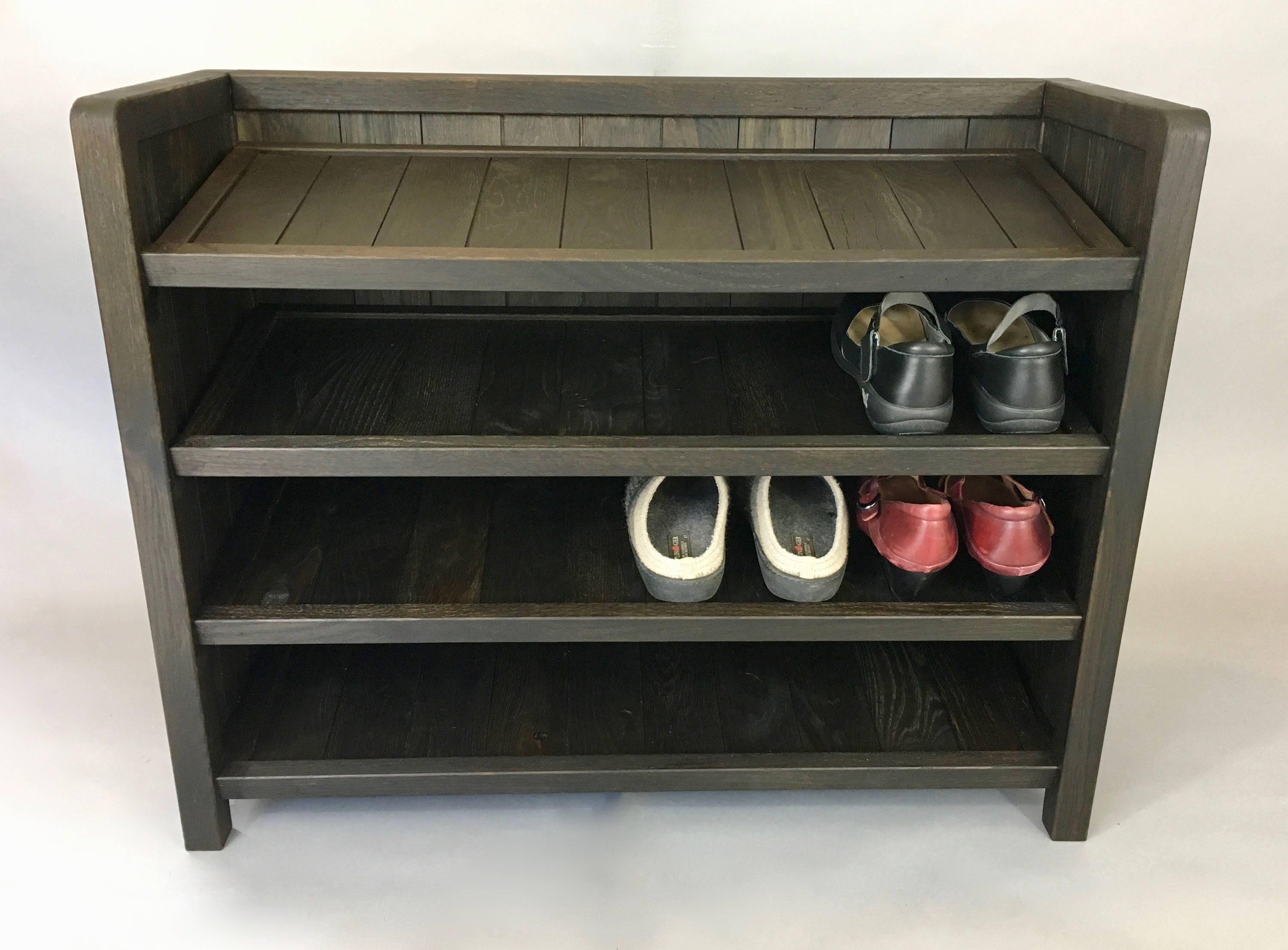 Foyer Bench With Shoe Storage Plans : Shoe rack wooden made with reclaimed oak