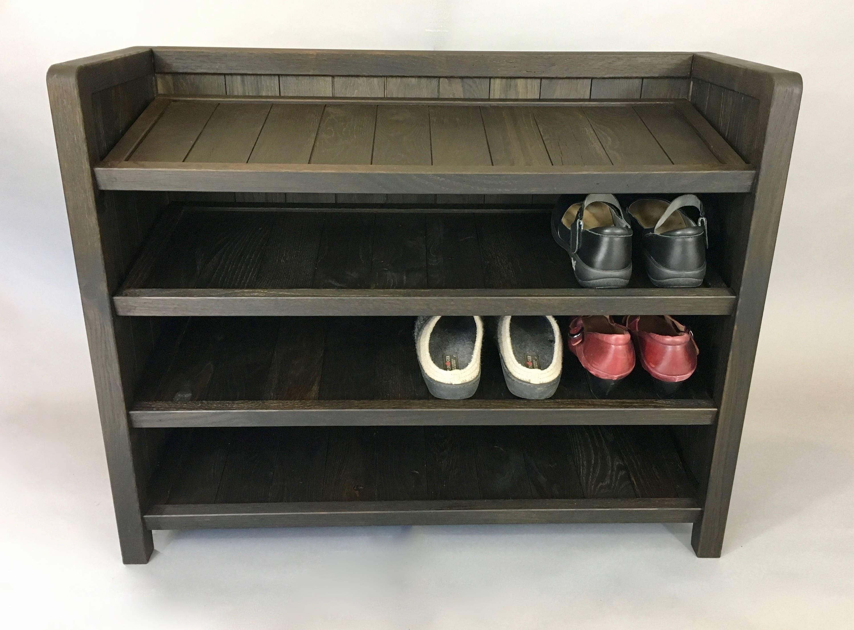 Mudroom Storage Rack : Shoe rack wooden made with reclaimed oak