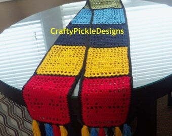 Autism awareness crochet Scarf/Fillet Crochet Puzzle Piece Scarf /Light weight puzzle piece fillet crochet scarf