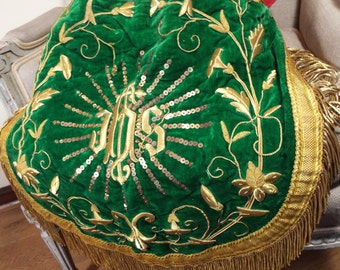 Catholic Religious Vestment Cope Gold Metallic Stump Work Antique French Embroidery
