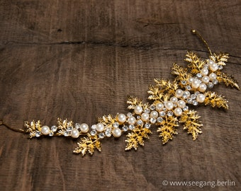 Golden Bridal Hairband, Hairband with Pearls, Hairband with Rhinestones