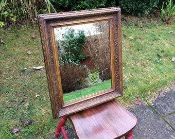 Vintage Shabby Chic Mirror – Upcylced Medium sized mirror with a Chunky Decorative and Vintage Shabby Chic Frame