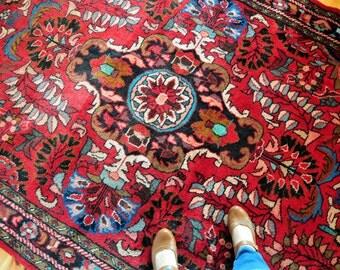 Vintage Persian Sarouk Rug, Large Persian Floral Rug, Red Gypsy Rug, Boho Bohemian Rug