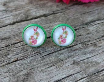 Bunny Rabbit Stud Earrings Green Studs Easter Spring Fashion Jewelry