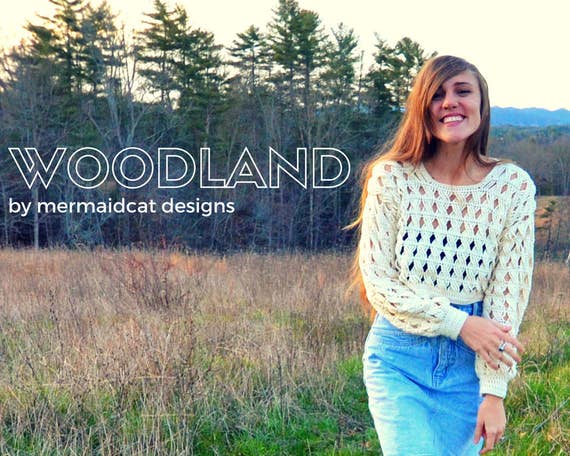 Crochet sweater crop top lacy cable pattern - Woodland
