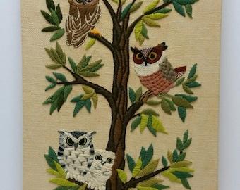Vintage Needlepoint Finished Erica Wilson OWLS TREE Minerva Crewel #7158 Retro Forest Yarn