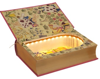 LED Hollow Book Safe - Alice's Adventures in Wonderland by Lewis Carroll (Magnetic Closure) [Custom Order]