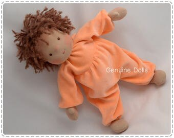 "Waldorf Doll. 14"". Waldorf toys, soft dolls, Waldorf baby doll, bunting baby. Brown eyes. Brown hair."