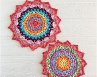 Crochet Mandala X2 A Pair of Table Mats Doily Crochet Mat, Home Decor Table Decoration  in 100% high quality cotton.