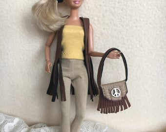 Sale Handmade Barbie Doll Clothes, Barbie Clothes, Doll Vest, Leather Purse, Barbie doll Pants and Top