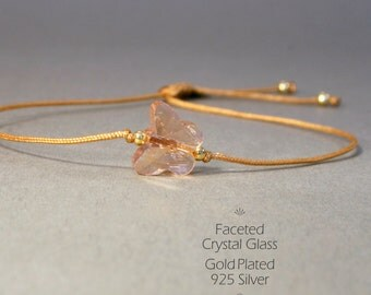 Delicate bracelet in gold, beige & rose gold-plated 925 Silver and pink moth of faceted glass, friendship band, adjustable