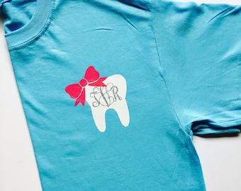 Dental hygienist monogram tee/ tooth monogram/ Dentist monogram tee shirt