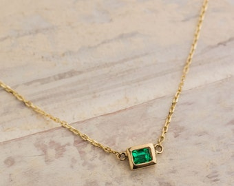 Delicate Natural Emerald Pendant Necklace set in 14K Yellow Gold, Green Emerald Pendant, 14K Yellow Gold Necklace, Zehava Jewelry