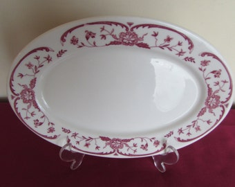 "Syracuse China (C-99) Restaurant Ware Serving Platter 10 1/2"" by 7 1/4"" with Red Trim"