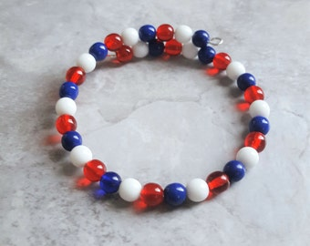 Patriotic Bracelet, USA, Patriotic Jewelry, Red White Blue, USA Bracelet, Patriotic, USA Jewelry, 4th of July, American Bracelet, July 4th
