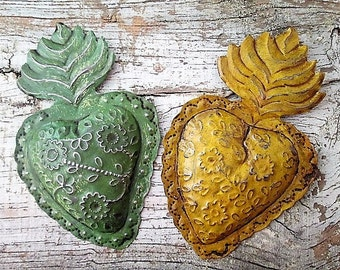 Mexican Tin Sacred Heart ,  Mexican Heart , Mexican Folk Art, Punched Tin