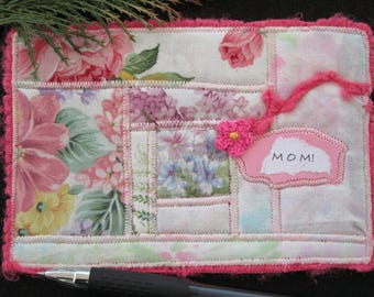 Mom Quilted Fabric Postcard, Floral Fabric Art Card, Pink Fabric Card, Handmade Postcard, Gift For Mom, 6 x 4