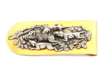 "Silver Money clip Banknote clip ""Hunting"""