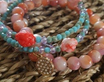 Blushing Blooms Vintage Rosebud Wrap Combination Bracelet With Free Passalong Charm by Jack and Diddly.