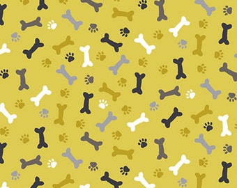 Patch - Dog Bones Fabric - Yellow - By Andover Fabrics
