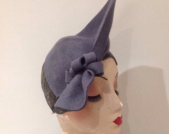 Vintage Style Pewter grey sculptured  felt Hat, 1940s inspired