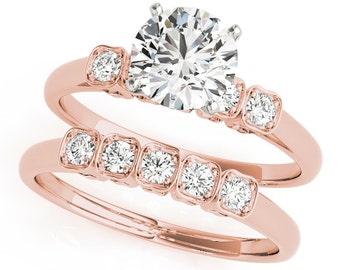 Diamond Engagement Ring & Wedding Band in Rose Gold