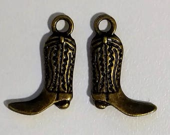Bronze Cowboy Boot Charms  Double-Sided  (2)