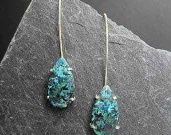 Silver earrings with Teardrop of Chrysocolla.