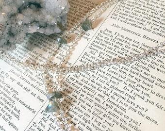 Labradorite Amethyst crystal layering necklace