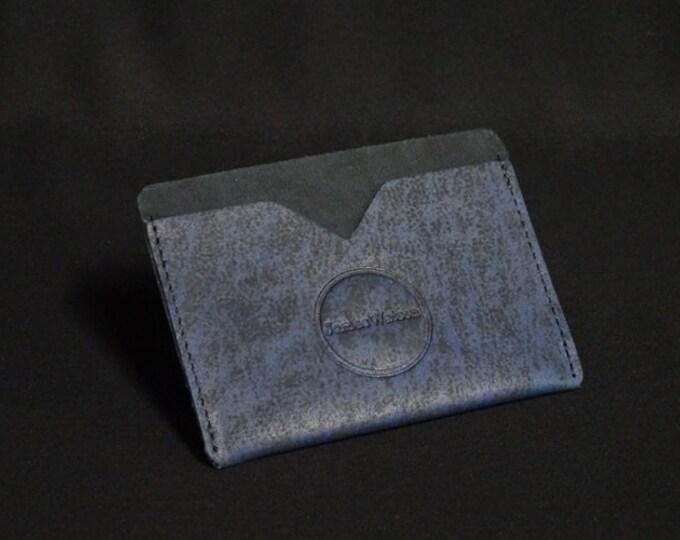 Pocket Wallet - Blue Art (2of5) - Kangaroo leather with RFID credit card blocking - Handmade - James Watson