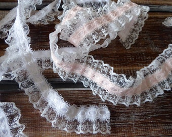 Pink and white ruffled lace with ribbon insert
