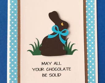 Handmade Easter Card, Chocolate Bunny, Happy Easter, Easter Card, Easter