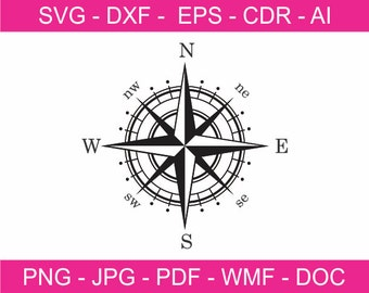 Compass Rose 4 - Printable Clipart - Iron on Transfer for Fabric  - Vinyl Cutting - Laser Cutting and Engraving - Cricut file - SVG file