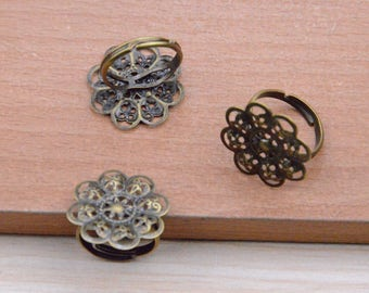 10pcs Ring Blanks,Antique Bronze ring with Filigree Flower Pad.jewelry rings,glue pad ring