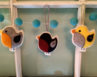 Bird Ornaments, Wool Felt, Hanging Decoration, Handmade, Home, Nursery Mobile, Applique, Christmas.