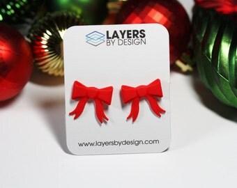3D Printed Red Ribbon Bow Stud Earrings