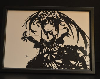 Kurumi from Date A Live Black and White Print